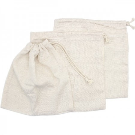 Organic Cotton Close Weave Muslin Produce Bags - Small 3 Pack