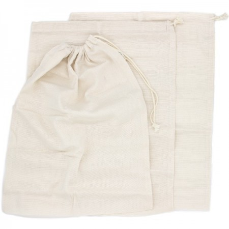 100% Organic Cotton Woven Muslin Produce Bags - Large (3)