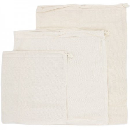 Organic Cotton Close Weave Muslin Produce Bags - Set of 3 Sizes