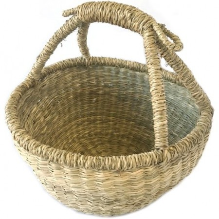 Vietnamese Seagrass Round Carry Basket - Small
