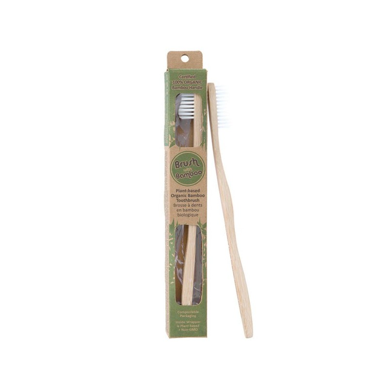 Brush with Bamboo Organic Bamboo Toothbrush Castor Bean Oil Bristles - Adult Soft