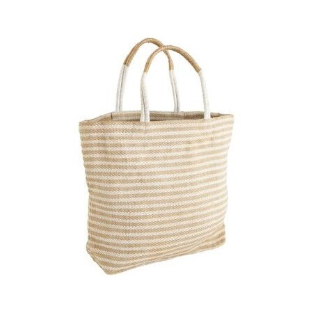The Dharma Door Jute Shopper - White Stripes