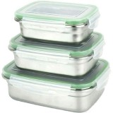 Green Essentials Snaps Stainless Steel Nesting Containers 3pk