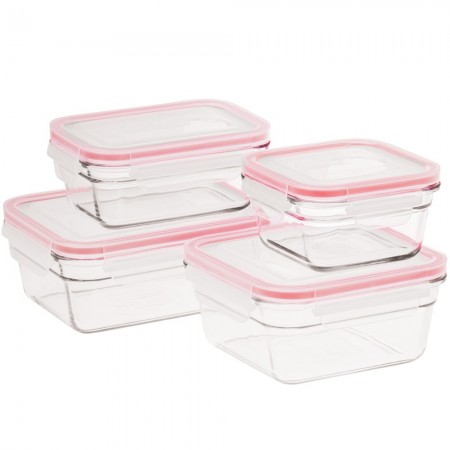 Glasslock Oven Safe Containers - 4 Piece Set (Red Seal)