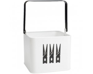 Enamel Peg Bucket - Monochrome