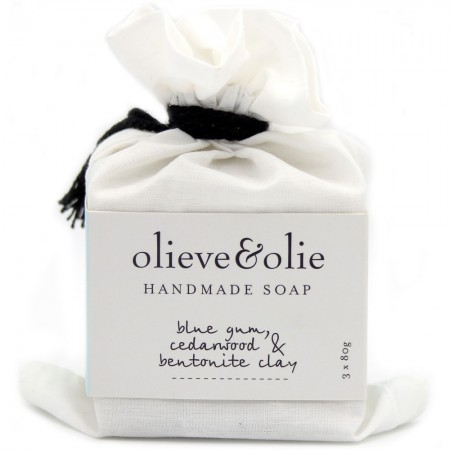 Olieve Soap Bars 3pk - Blue Gum, Cedarwood & Bentonite Clay