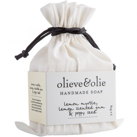 Olieve Soap Bars 3pk - Lemon Myrtle, Lemon Gum & Poppy Seed