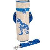 SoYoung Insulated Raw Linen Bottle Bag - Blue Dino