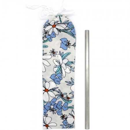 Organic Cotton Straw Pouch - Magnolia Springs Blue