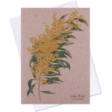 The Linen Press Card - Golden Wattle