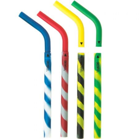 GreenPaxx Silicone Drinking Straws 4pk - Athletic Stripe