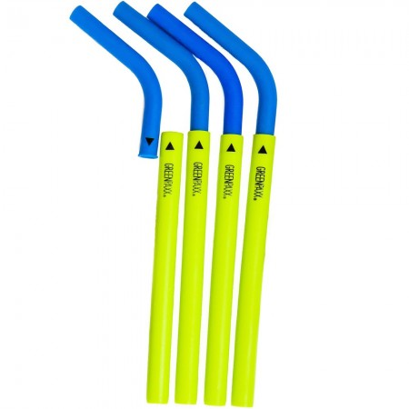 GreenPaxx Silicone Drinking Straws 4pk - Blue & Green