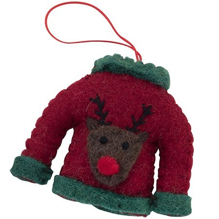Fairtrade Felt Christmas Decoration - Reindeer with Sweater