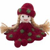 Fairtrade Felt Christmas Decoration - Doll (red and green spots)
