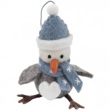 Fairtrade Felt Christmas Decoration - Festive Bird (blue)