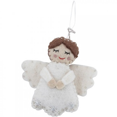 Fairtrade Felt Christmas Decoration - Angel with Halo (white)