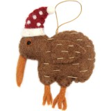 Fairtrade Felt Christmas Decoration - NZ Kiwi with Hat