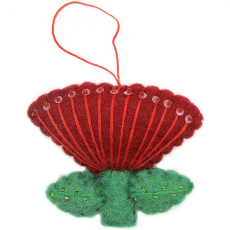 Fairtrade Felt Christmas Decoration - Pohutakawa Flower