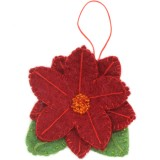 Fairtrade Felt Christmas Decoration - Poinsettia Flower