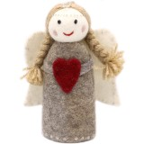 Fairtrade Felt Christmas Decorations - Standing Angel Natural