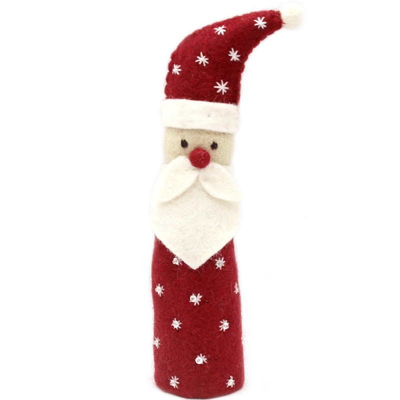 Fairtrade Felt Christmas Decoration - Standing Santa (red with white snowflake stitch)