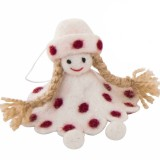 Fairtrade Felt Christmas Decoration - Doll with Spots White