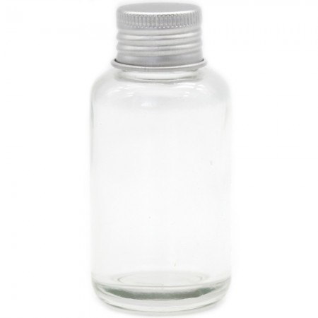 Reusable Clear Glass Bottle with Silver Lid 60ml