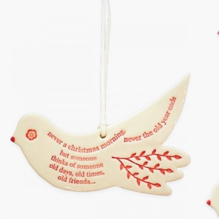 Kylie Johnson Ceramic Christmas Decoration - Bird with Words