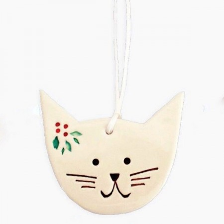 Kylie Johnson Ceramic Christmas Decoration - Cat