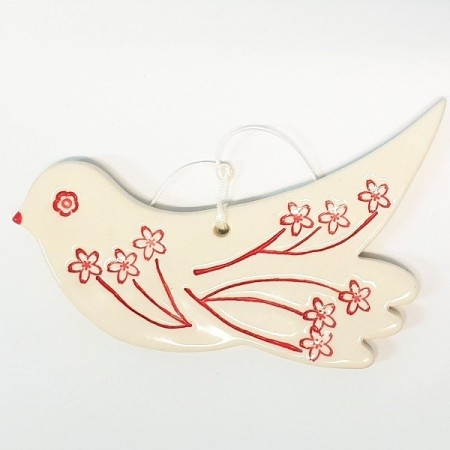 Kylie Johnson Ceramic Christmas Decoration - Bird (no wings) with Flowers