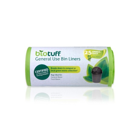 Biotuff Compostable Kitchen Tidy Bags 8L - 25 bags
