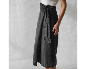 Seaside Tones Belted Skirt Grey