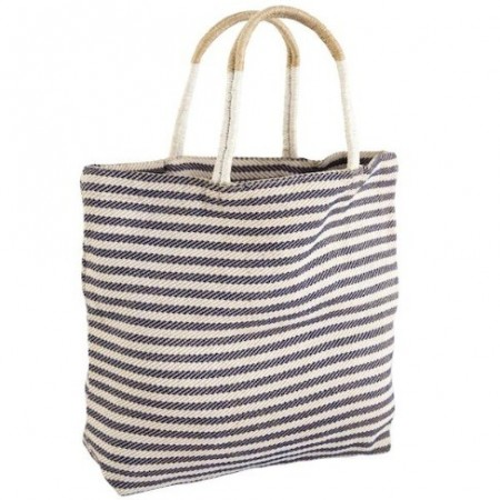 The Dharma Door Jute Shopper Indigo Stripe