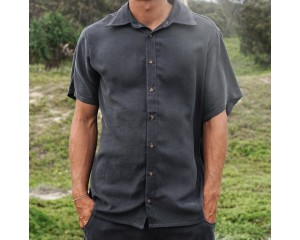 Tasi Travels Short Sleeve Voyager Shirt Charcoal