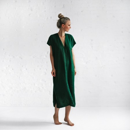 Seaside Tones V Neck Dress Green