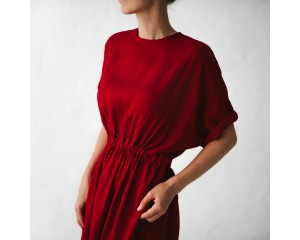 Seaside Tones Linen Dress Red