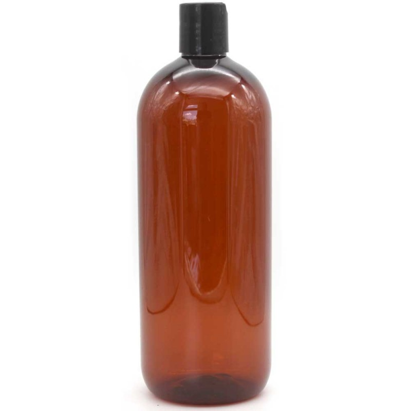 Amber PET Plastic Disc-cap Bottle - 1 litre