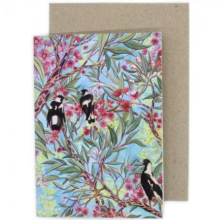 Ingrid Bartkowiak Art Greeting Card - Magpies in the Gum Trees
