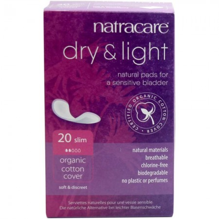 Natracare Organic Cotton Dry & Light Slim Pads 20pk