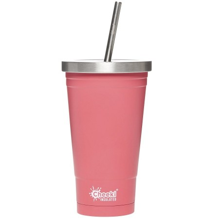 Cheeki Insulated Stainless Steel Tumbler with Straw 500ml - Dusty Pink