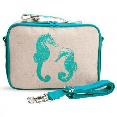 SoYoung Insulated Lunch Box Raw Linen - Aqua Seahorses