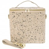 SoYoung Large Raw Linen Insulated Cooler Bag - Black Splatter