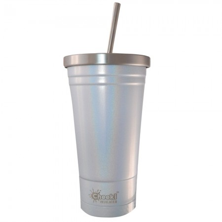 Cheeki Insulated Stainless Steel Tumbler with Straw 500ml - Rainbow Pearl