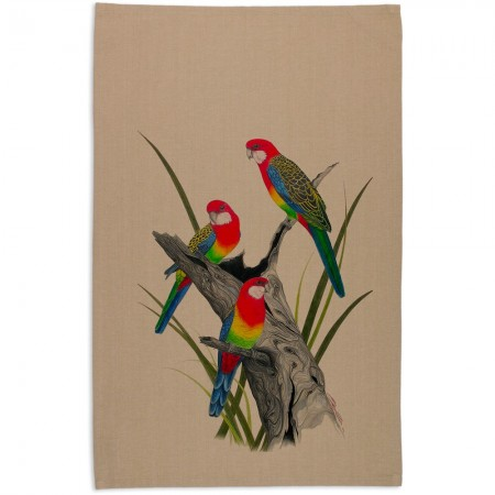 The Linen Press Organic Tea Towel by Meg Wells - Eastern Rosella Beige