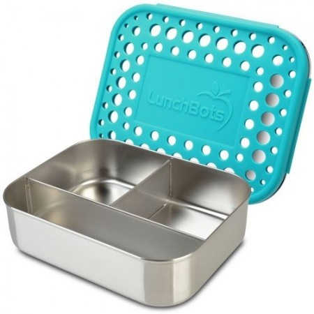 LunchBots Medium Stainless Steel Lunch Box - Trio Aqua Dots