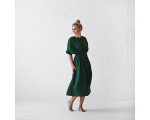 Seaside Tones Linen Dress Green