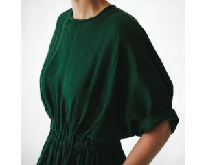 Seaside Tones Linen Dress Green S