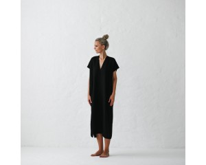 Seaside Tones V Neck Dress Black