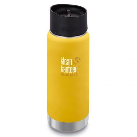 Klean Kanteen Wide Insulated Bottle 16oz 473ml - Lemon with Cafe Cap (Klean Coat) LAST CHANCE!