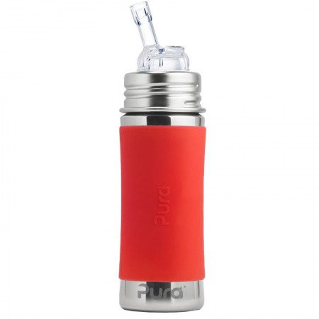 Pura Kiki Stainless Steel Straw Bottle 325ml - Orange